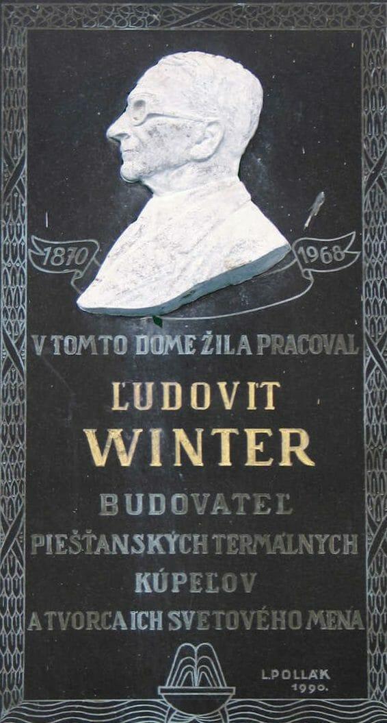 Pamätná tabuľa Ľudovíta Wintera – zakladateľ Kúpeľov Piešťany