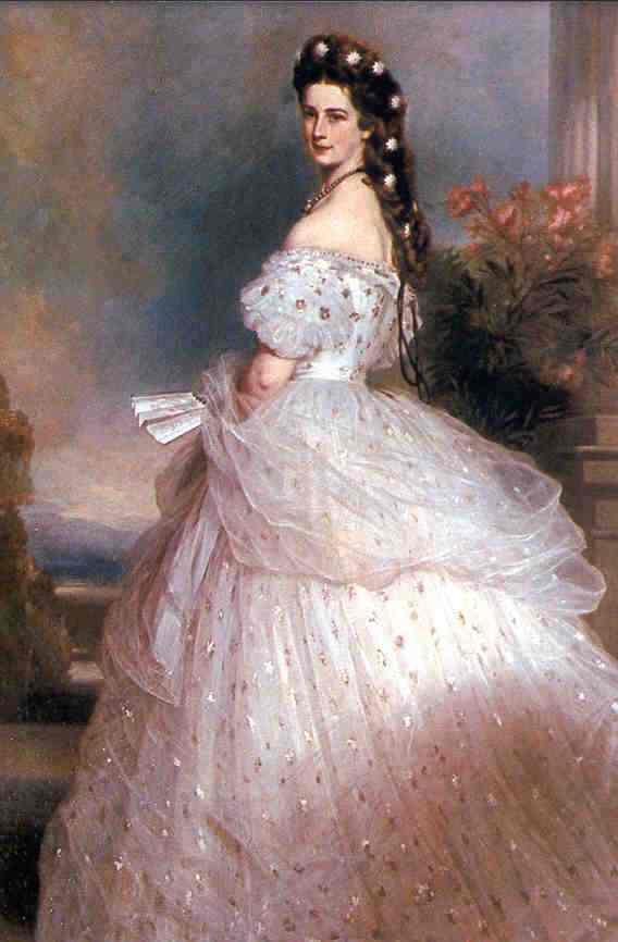 """Portrét Alžběty Bavorskej zvanej """"Sisi"""" od Franze Xavera Winterhaltera"""