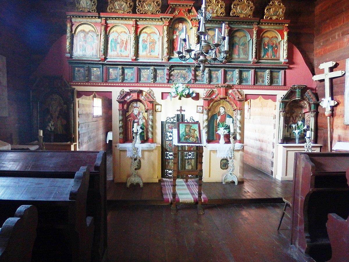 Interér kostola Chrám sv. Paraskevy v skanzene, Svidník