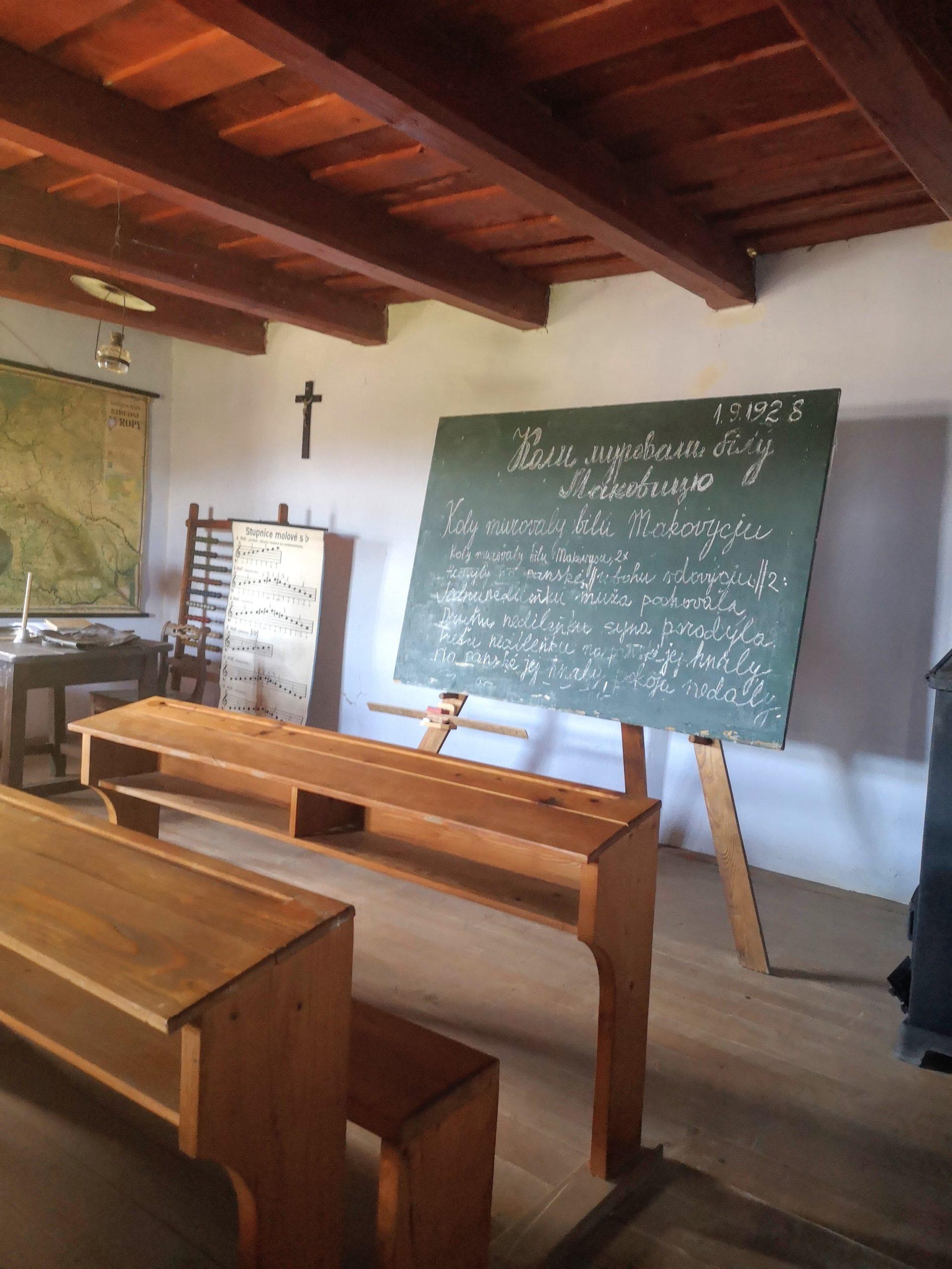 Interiér školy, skanzen vo Svidníku