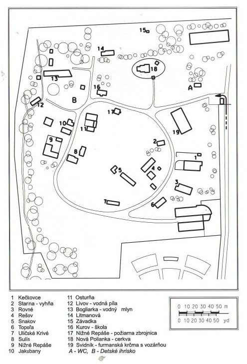 Mapa jednotlivých objektov v skanzene