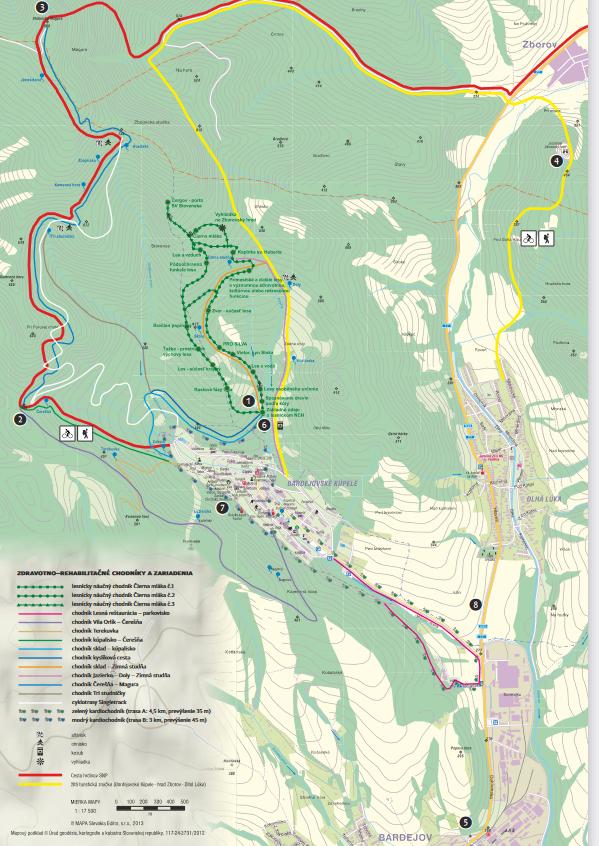Turistická mapa okolia Bardejovských Kúpeľov