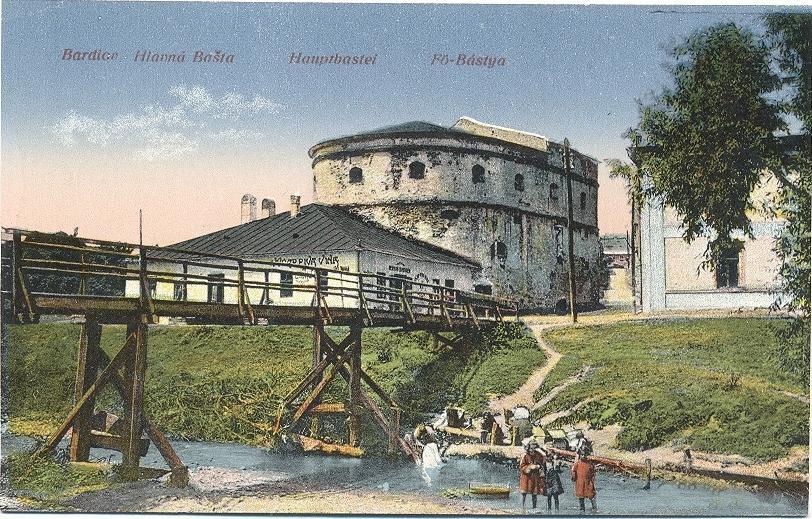 Opevnenie mesta Bardejov na historickej pohľadnici