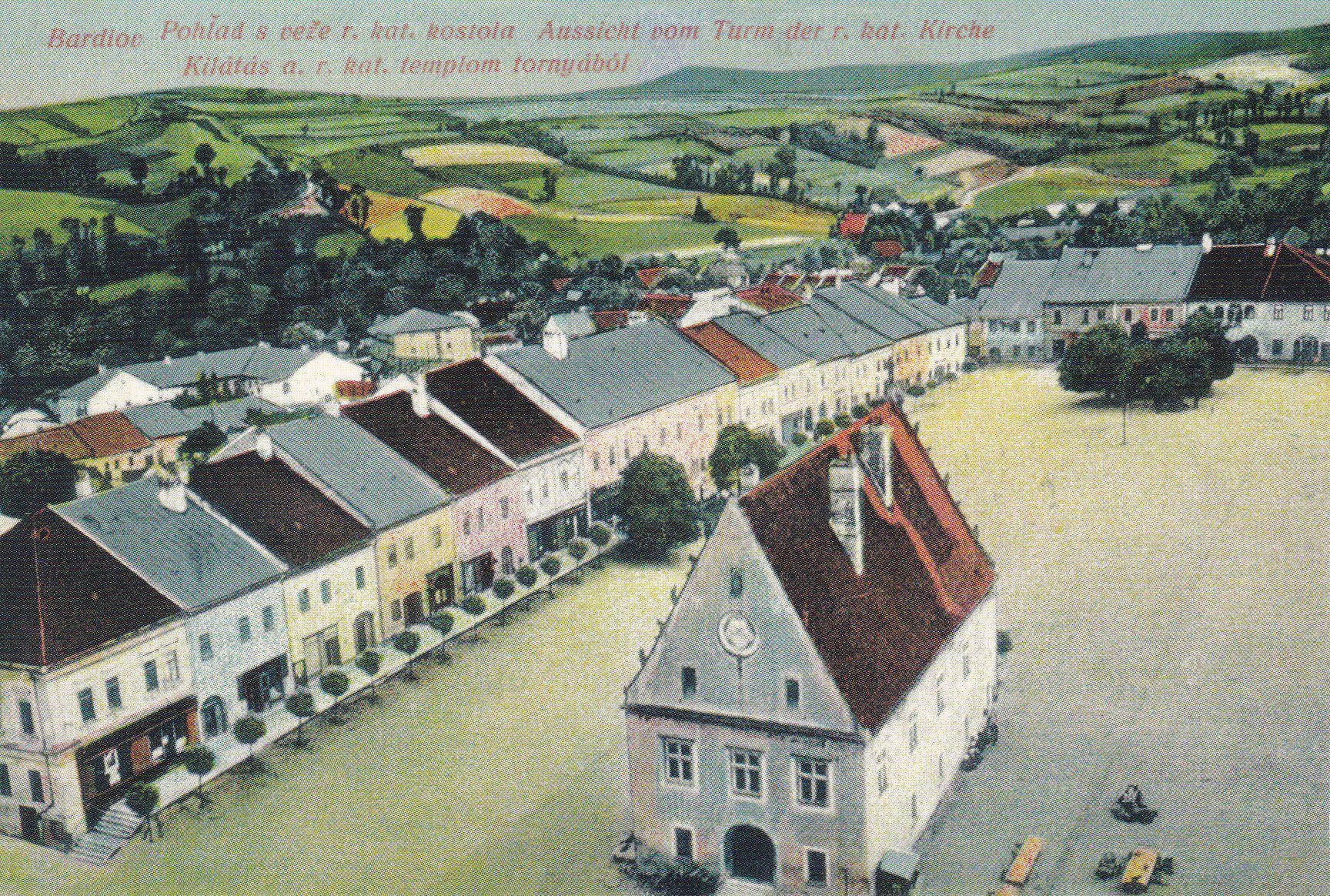 Bardejov – pohľad z veže zachytený na historickej pohľadnici