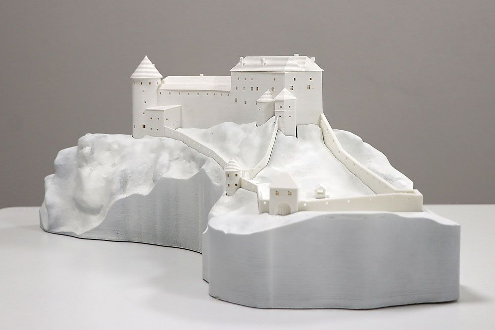 Pravdepodobný vzhľad hradu Šášov v minulosti – 3D model