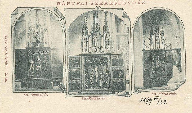 Interiér baziliky sv. Egídia zachytený na historickej pohľadnici
