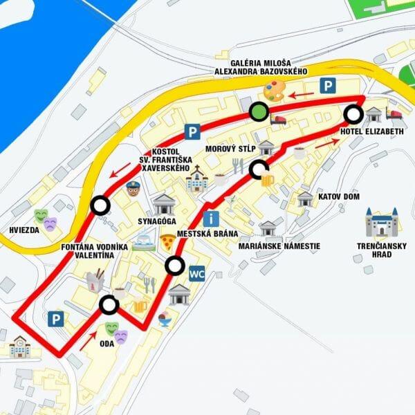 Mapka okruhu centrum mesta Trenčín