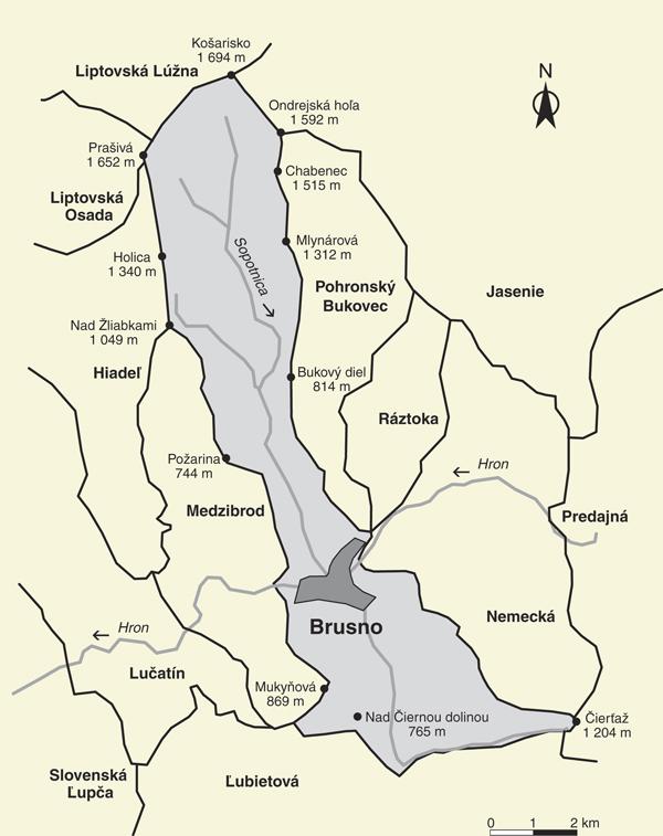 Katastrálne územie obce Brusno