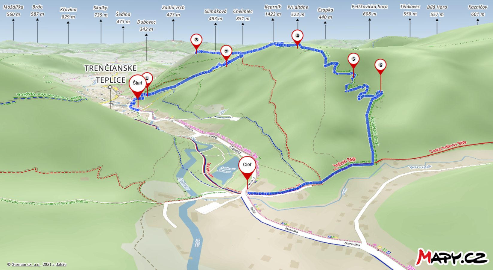 Mapa trasy chodníka Jeleň-Baračka