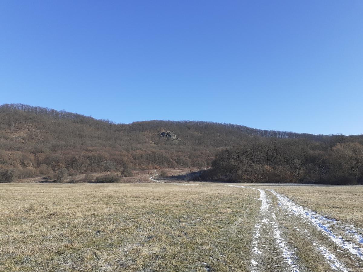 Cesta na Kamenného Janka, v pozadí skalné útvary