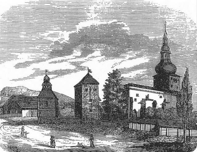 Pukanec – mestský hrad na dobovej kresbe z roku 1857