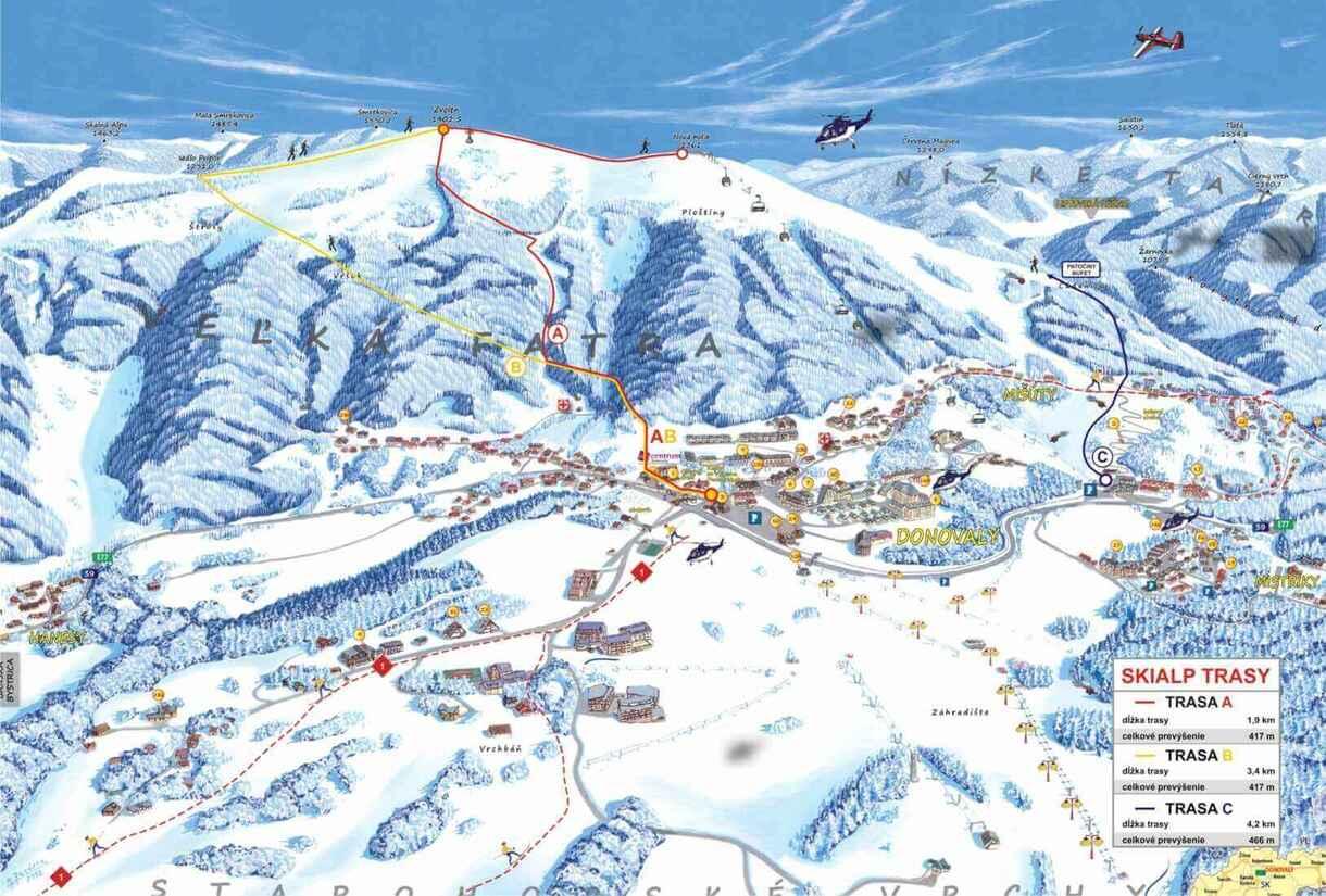 Skialpové trasy Donovaly