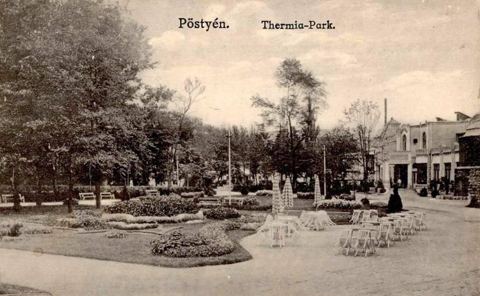 Úprava parku pred Thermia Palace Piešťany v roku 1916
