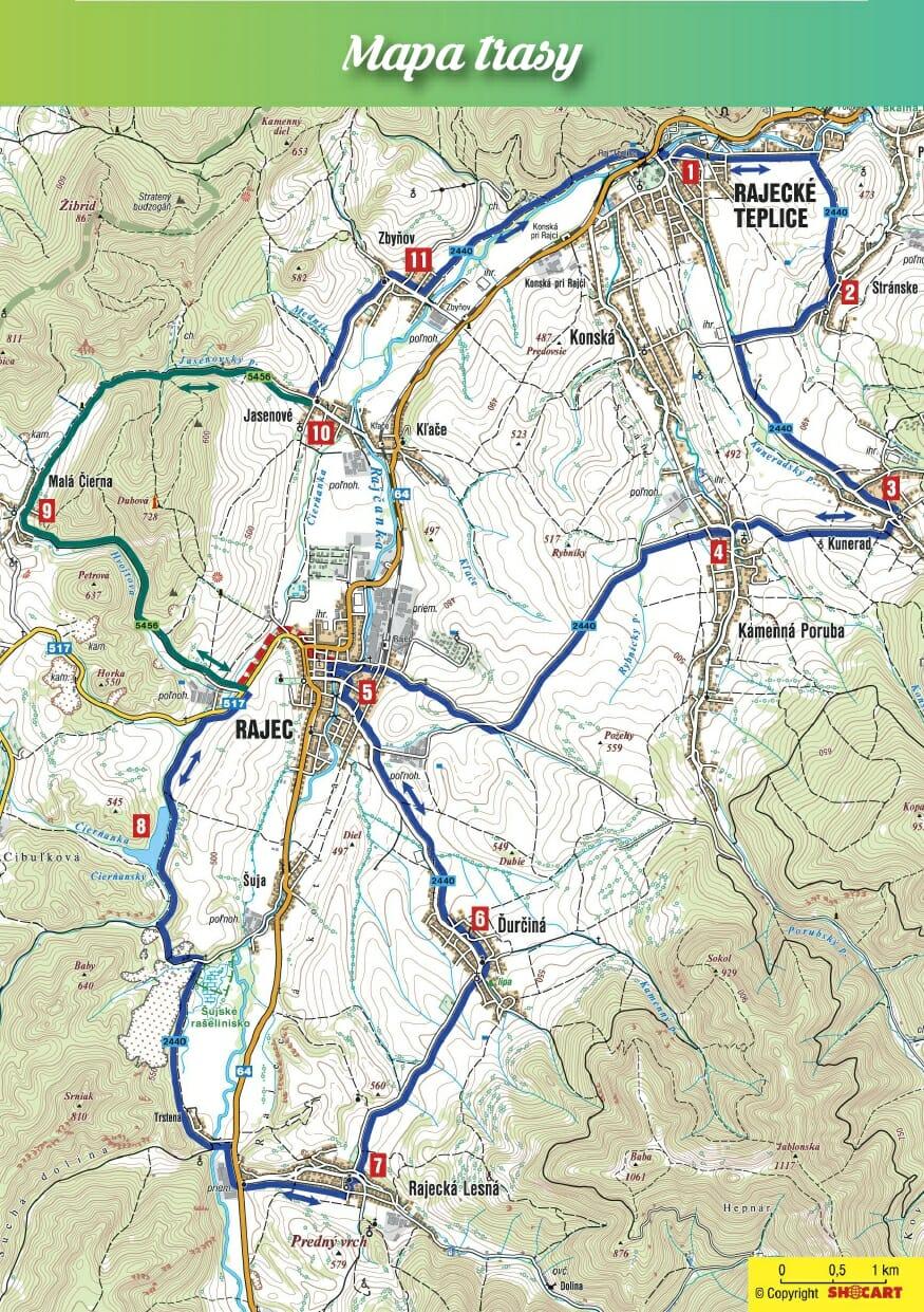 Mapa trasy Rajeckou dolinou na dvoch kolesách