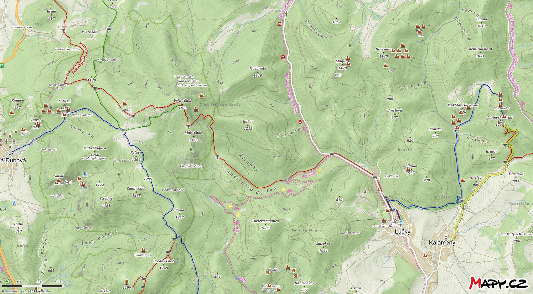 Turistická mapa z Lúčok na Veľký Choč