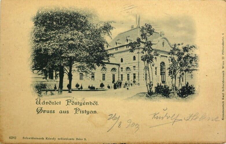 Pohľadnica s tématikou Františkových kúpeľov z augusta 1903