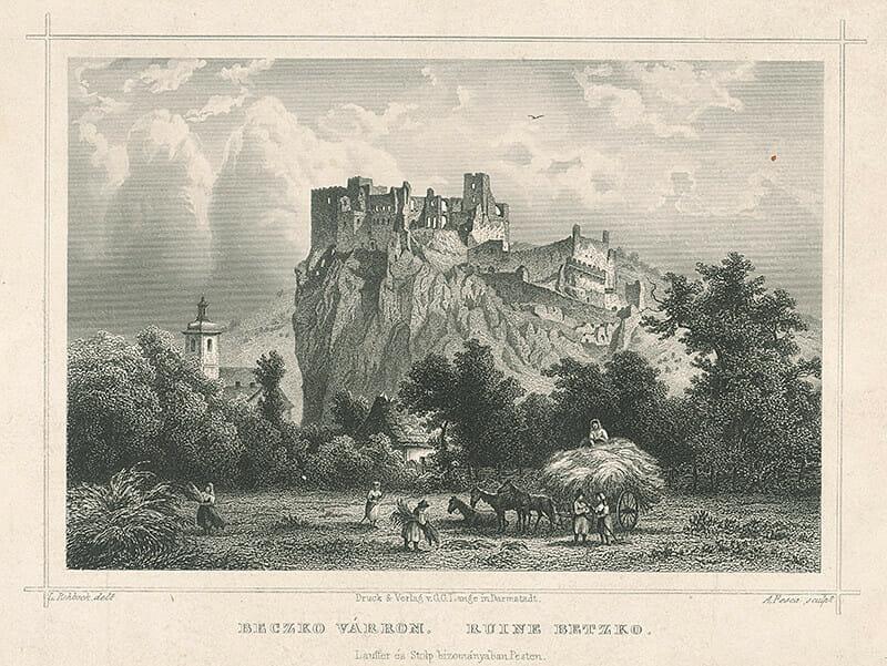 Grafika hradu Beckov / Ludwig Rohbock, A. Fesca, SNG, 1857