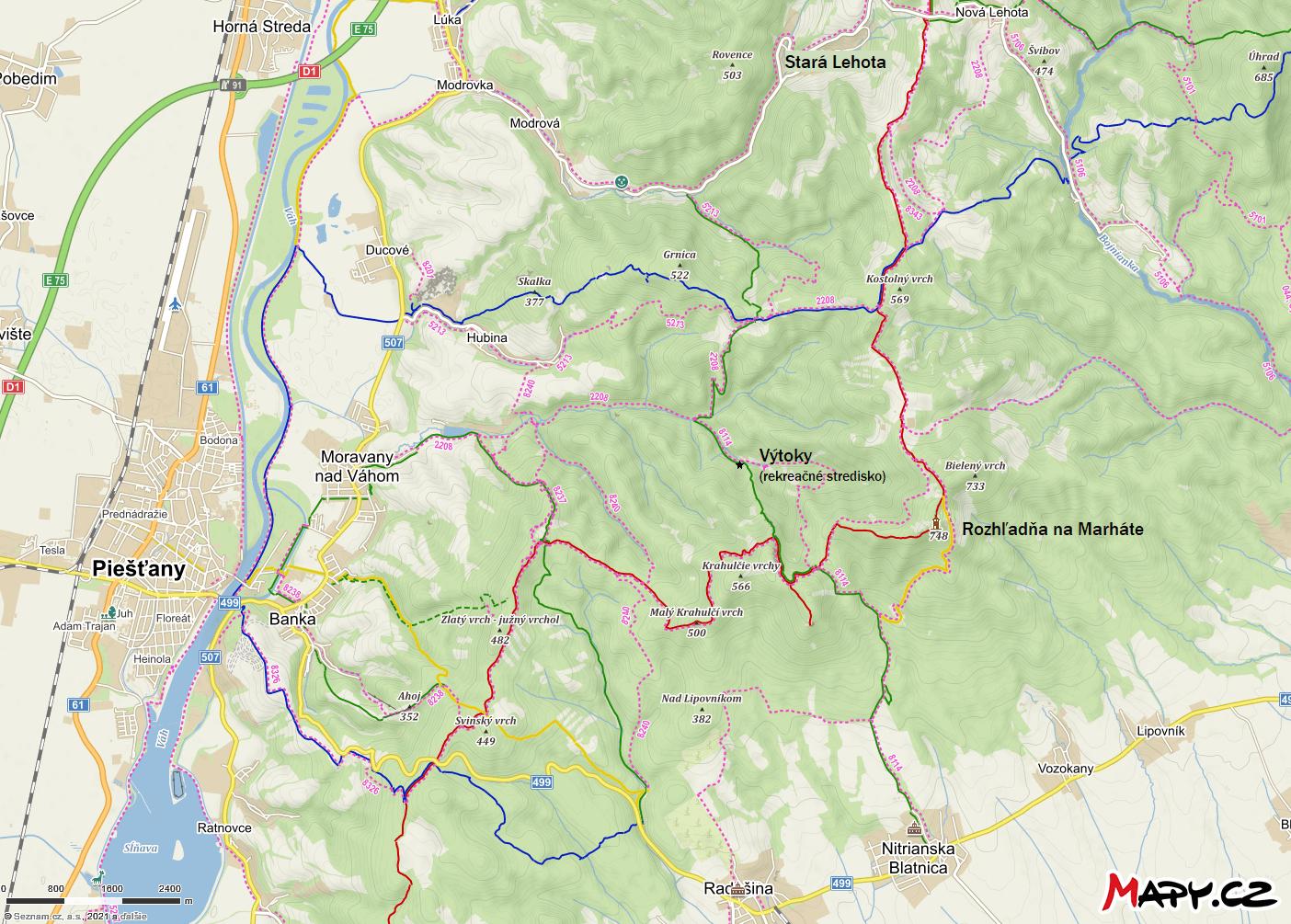 Rozhľadňa na Marháte, turistické trasy