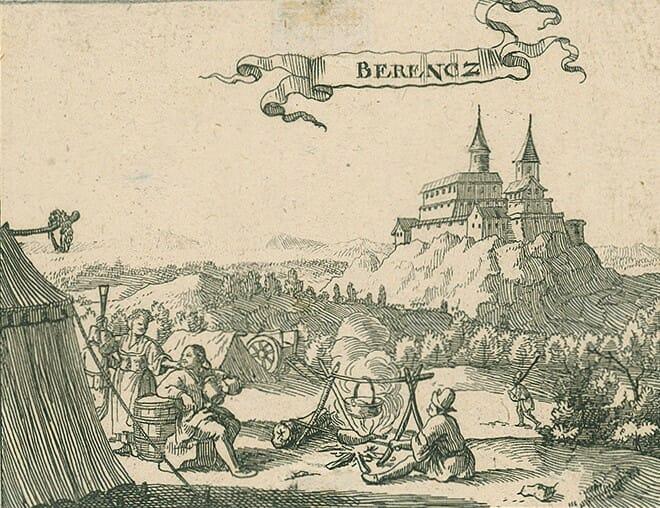 Hrad Branč na historickej rytine z roku 1686, Justus van den Nypoort, OGD