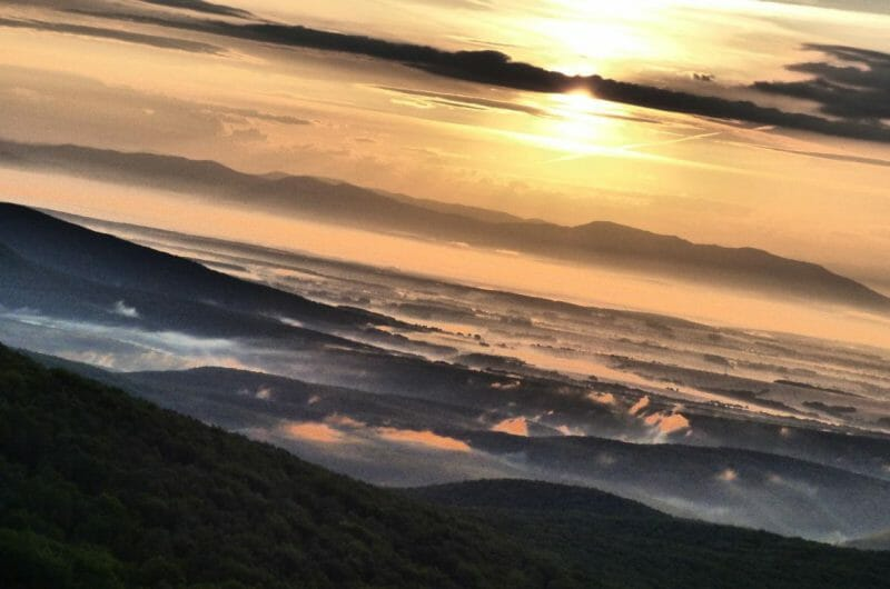 Východ slnka z rozhľadne Marhát