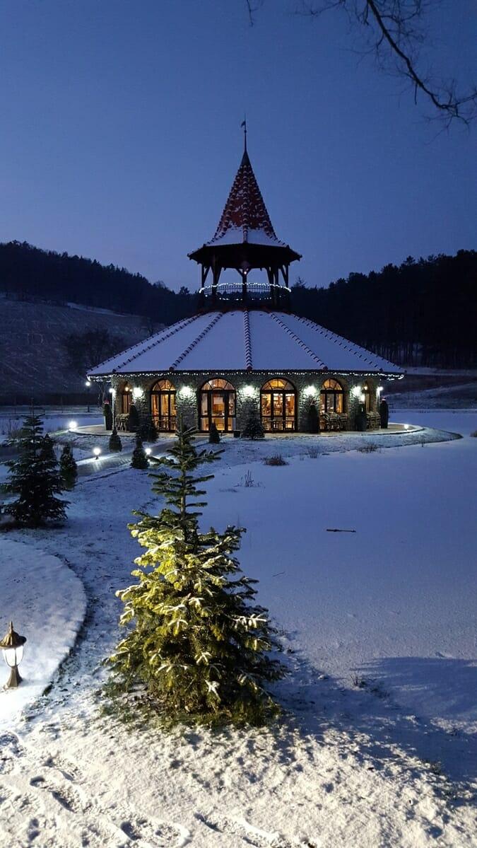 Kaviareň Bašta pri prameni v zime, Kúpele Bojnice