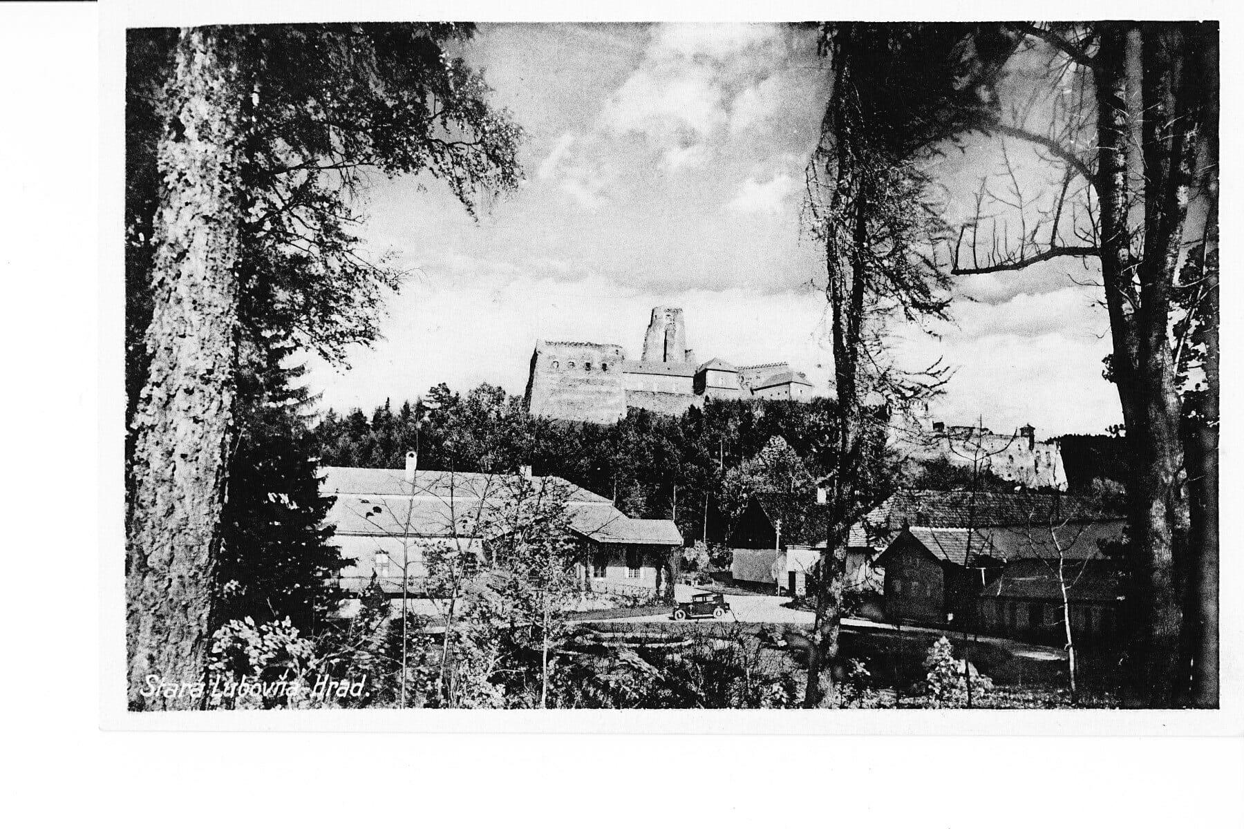 Ľubovniansky hrad na historickej fotograf