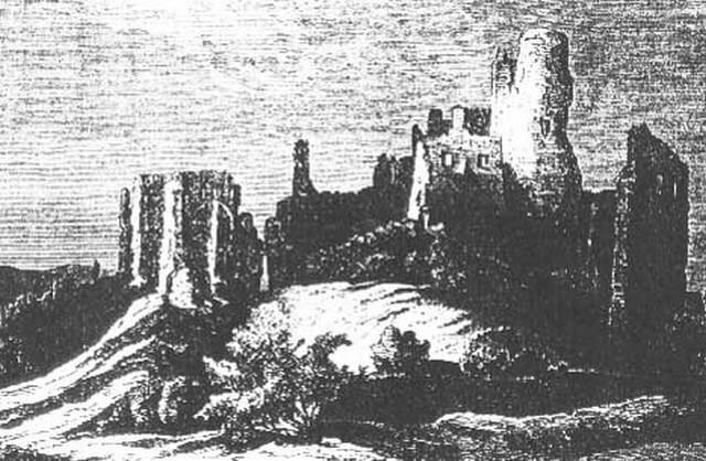 Oponický hrad na hidtorickej fotografii