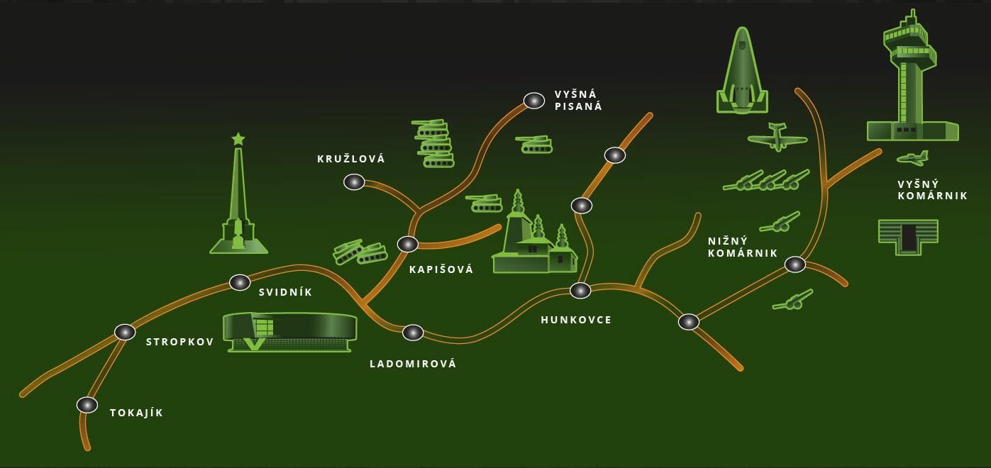 Mapa vojenských pamiatok v okolí Svidníka