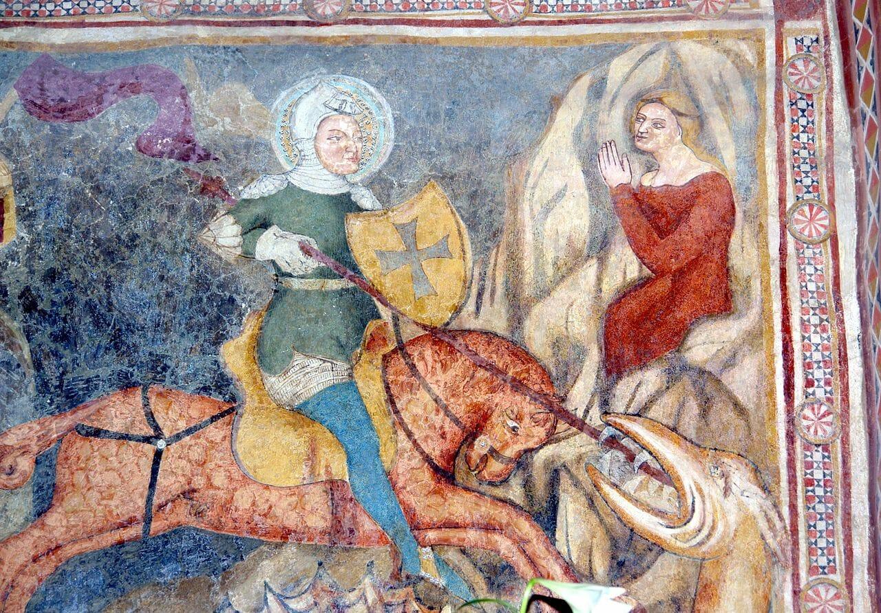 Freska sv. Juraja v interiéri kostola sv. Martina v Čeríne