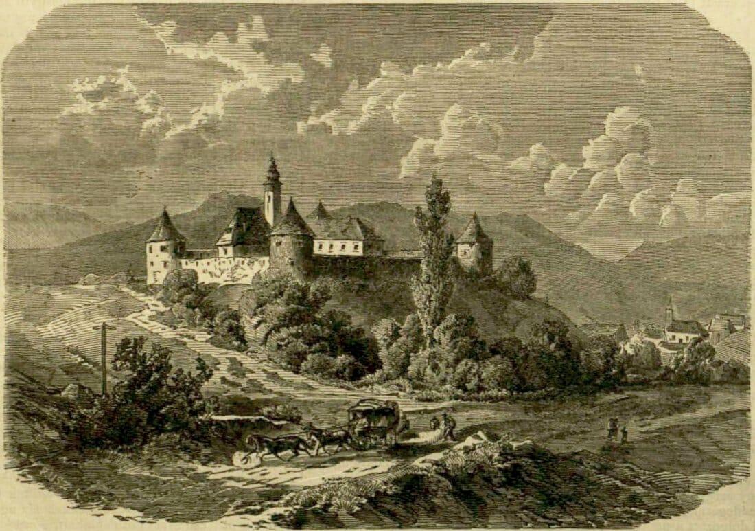 Historická kresba pevnosti Bzovík