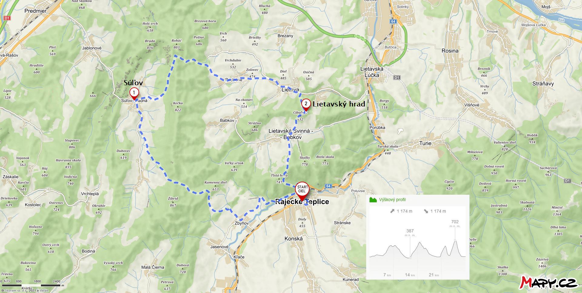 Cyklotrasa Rajecké Teplice – Súľov – Lietavský hrad