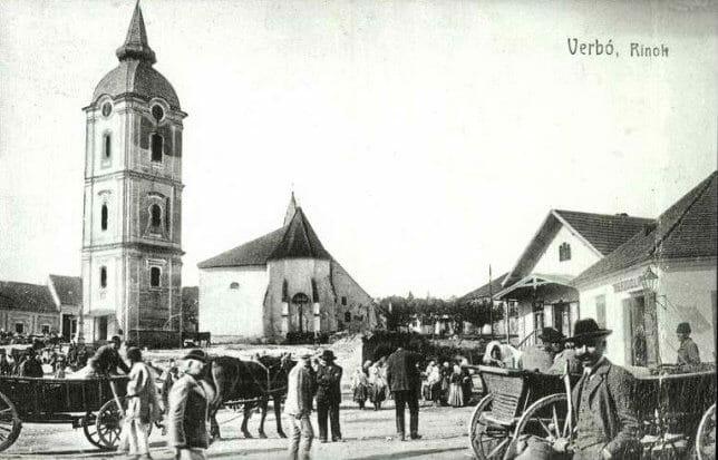 Šikmá veža vo Vrbovom - historická fotografia