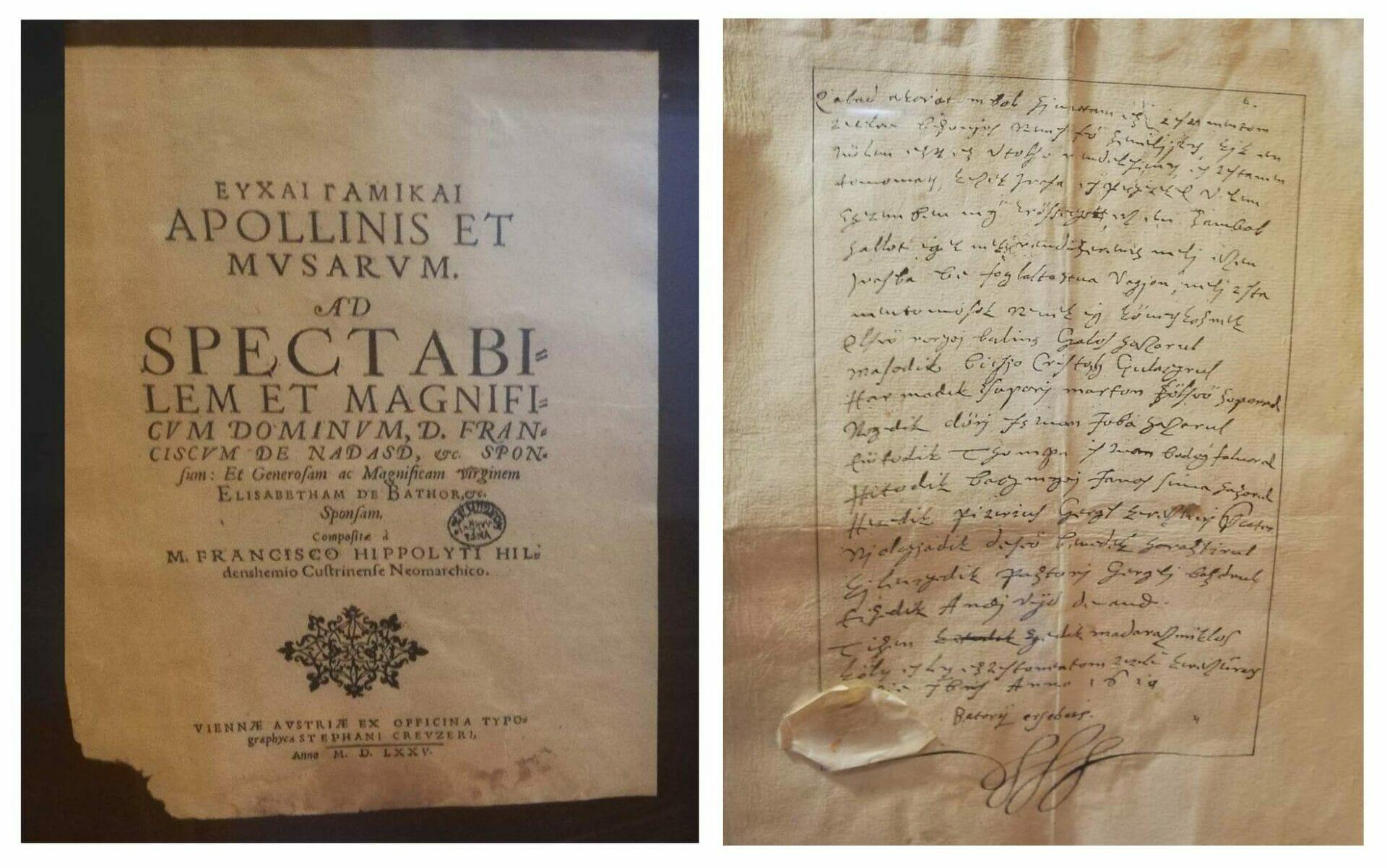 Kópia svadobného oznámenia a testamentu Alžbety Báthoryovej