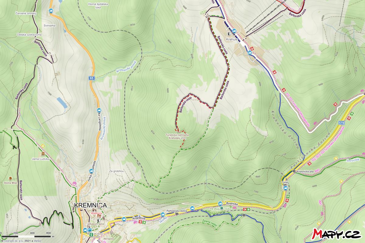 Turistické trasy k rozhľadni na Krahulskom vrchu z Kremnice a Krahule