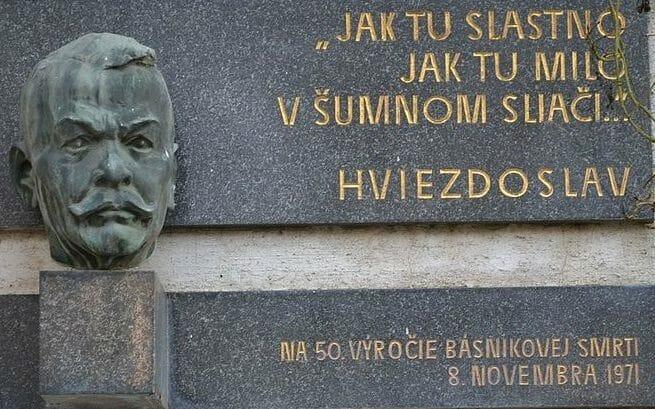 Pamätná tabuľa Pavla Országha Hviezdoslava v kúpeľoch Sliač