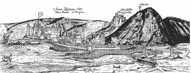Zvolen a Pustý hrad na historickej kresbe