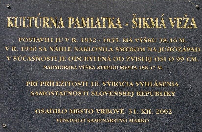 Pamätná tabuľa vo Vrbovom