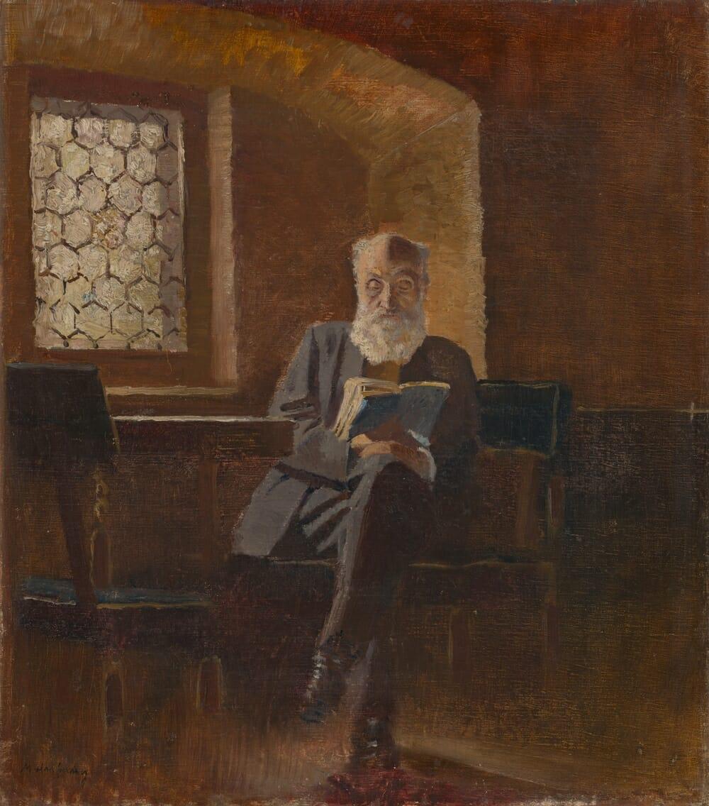 Portrét s názvom: Čítajúci. Umelcov otec, barón Eduard Mednyánszky, od Ladislava Mednyánszkeho, 1890 – 1895, SNG