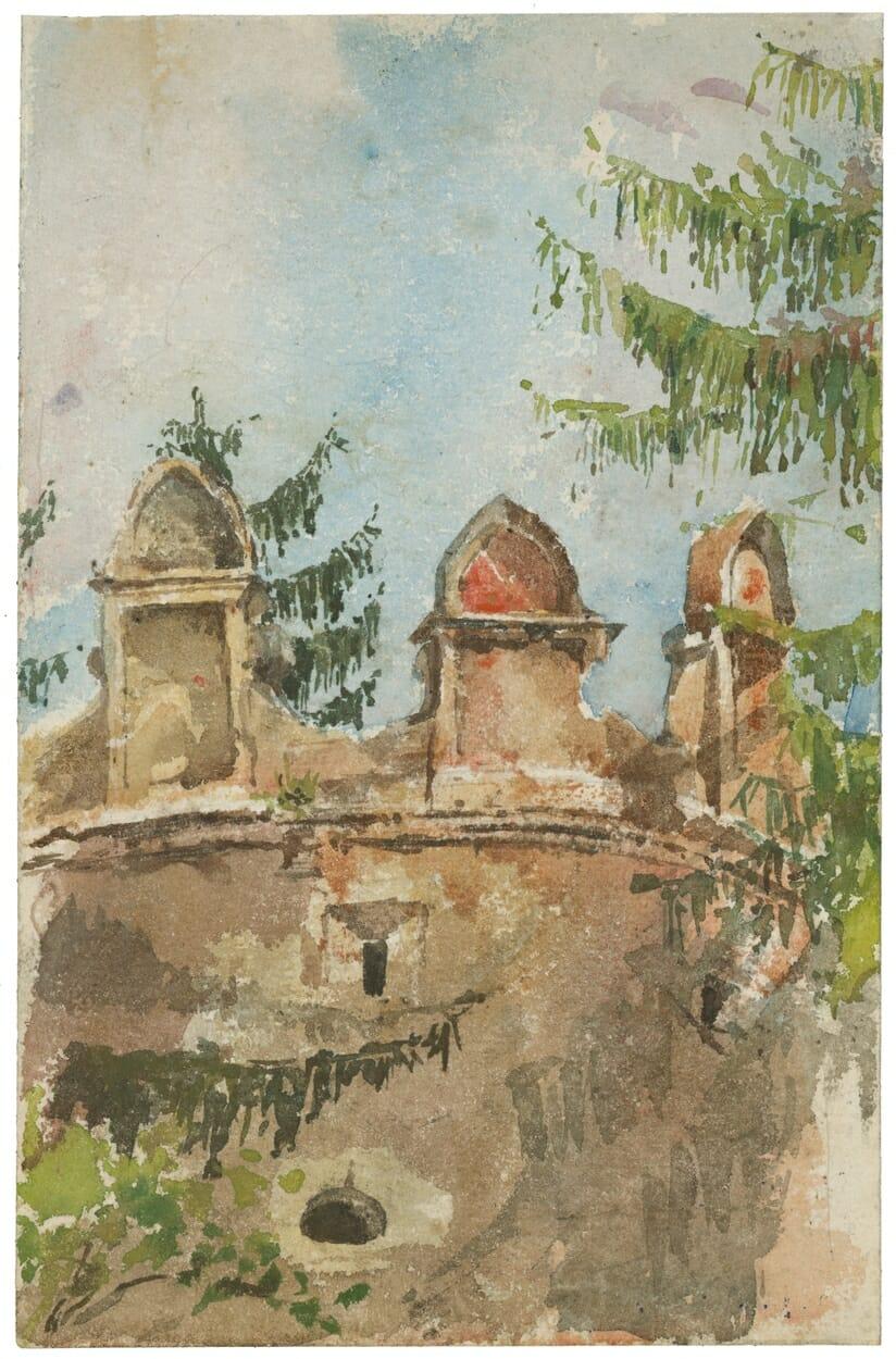 Akvarel/ceruzka: Veža kaštieľa v Strážkach, Ladislav Mednyánszky, 1880–1890, SNG