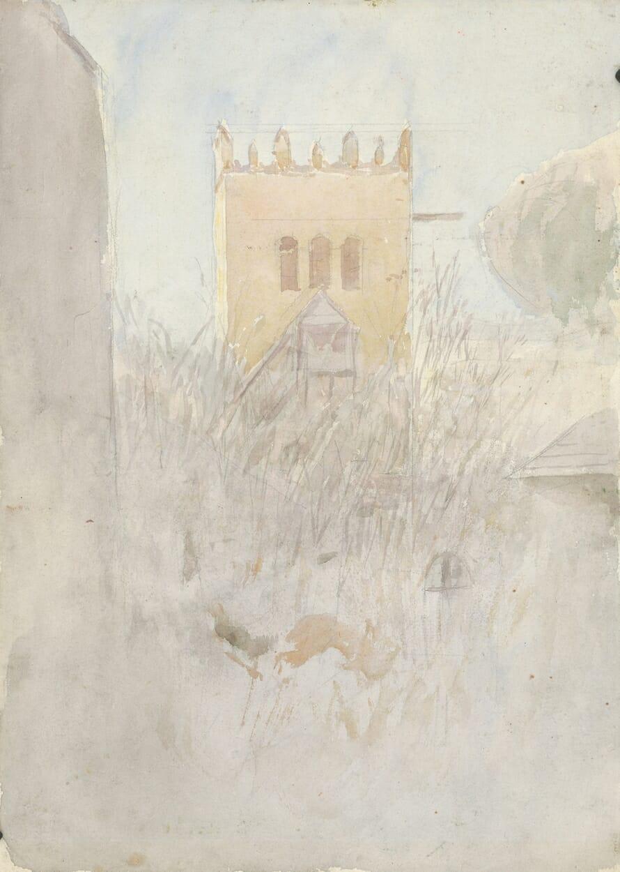Akvarel: Zvonica v Strážkach II., Ladislav Mednyánszky, 1890–1910 , SNG